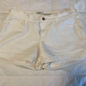 Old Navy White Boyfriend Cuffed Shorts